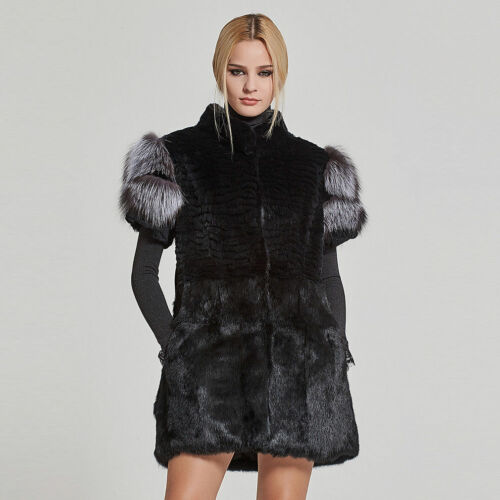 Natural 17215 Vest Sliver Real Women's With Fox Fur Rabbit TS4dWwxq