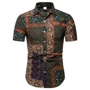 Men-039-s-casual-t-shirt-floral-short-sleeve-tops-formal-summer-luxury-slim-fit