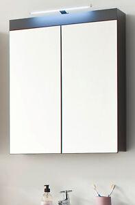 Details zu Spiegelschrank Bad Spiegel grau Hochglanz 60 cm Badezimmer  Amanda LED Badlampe