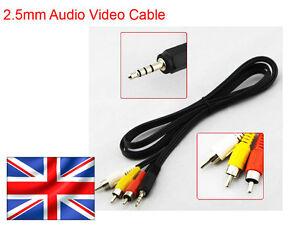 2-5mm-4-pole-Jack-Plug-to-RCA-Phono-Plugs-AV-Lead-Cable-Camera-Camcorder-UK