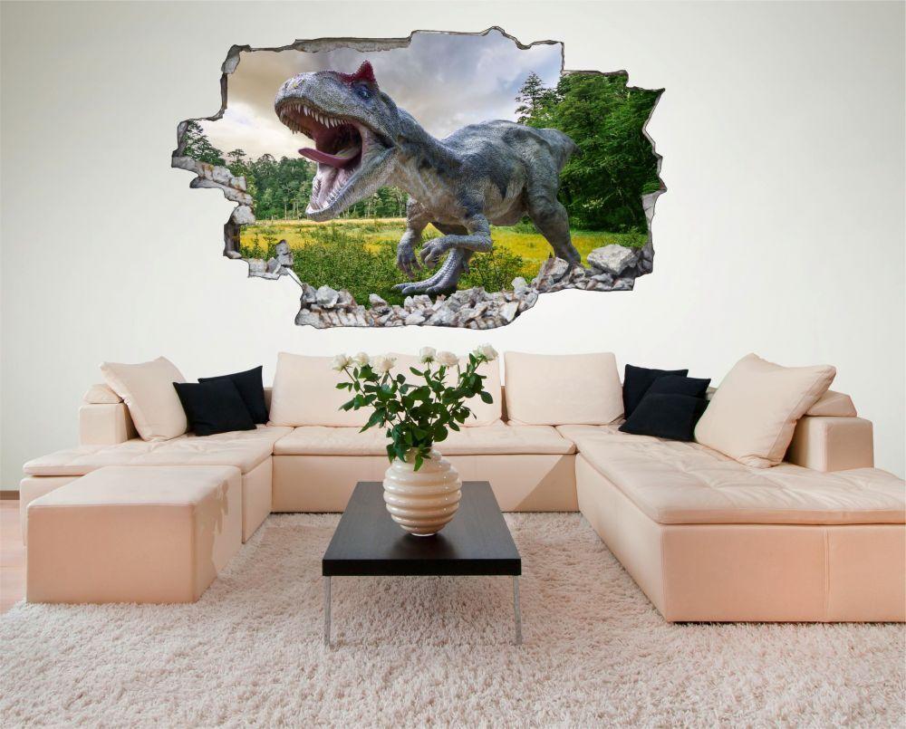 Dinosaure Dino Prairie Arbres Mural c0566 Sticker Autocollant c0566 Mural 376a13