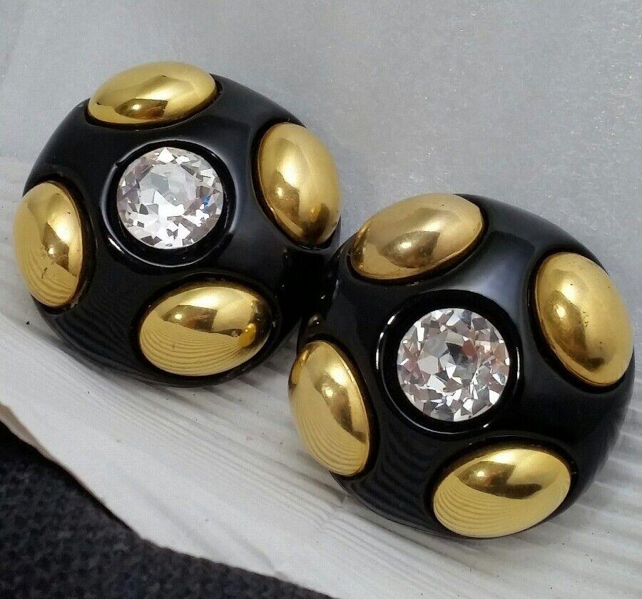 Vintage Oversized Jewellians Black Rhinestone Cli… - image 12