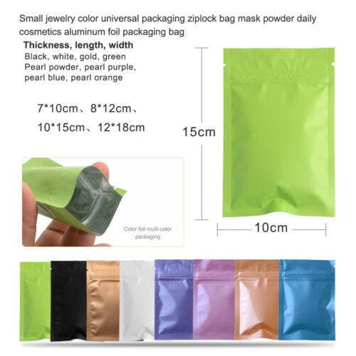 Colors Aluminum Foil Zip Lock Bags Resealable Mylar Food Storage Pouch Packages