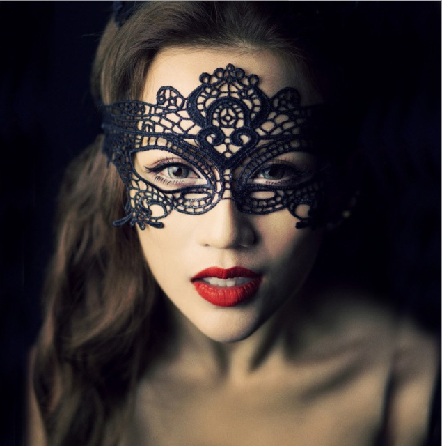 Black Lace Masquerade Mask with Flower
