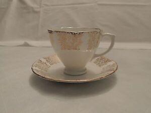 Vintage Demitasse Sutherland H M Bone China Teacup & Saucer w/ Gold Design