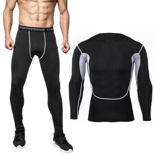 Herren Kompression Funktion T-Shirt Sports Trainingsanzug Hose Camo Gym Kostume