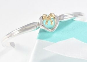 ae2f604712f9c Details about Tiffany & Co 18K Gold Silver Heart Ribbon Bow Cuff Bracelet w  Box & Pouch ribbon