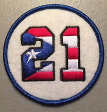 ROBERTO CLEMENTE RETIRED JERSEY NUMBER 21 PATCH - PUERTO RICO FLAG EDITION