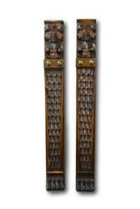 Architectural-Pair-of-French-Carved-Figures-Trim-Posts-Oak-Wood-Trim-Pillars