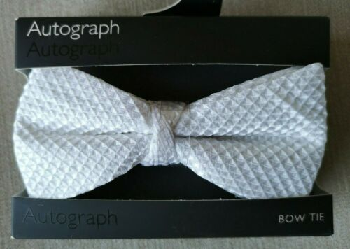 LUXURY M/&S AUTOGRAPH WHITE WAFFLE PURE SILK ADJUSTABLE BOW TIE FREE POST