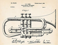 1901 C.g. Conn Cornet Patent Drawing Art Print Gift Ideas For Brass Player