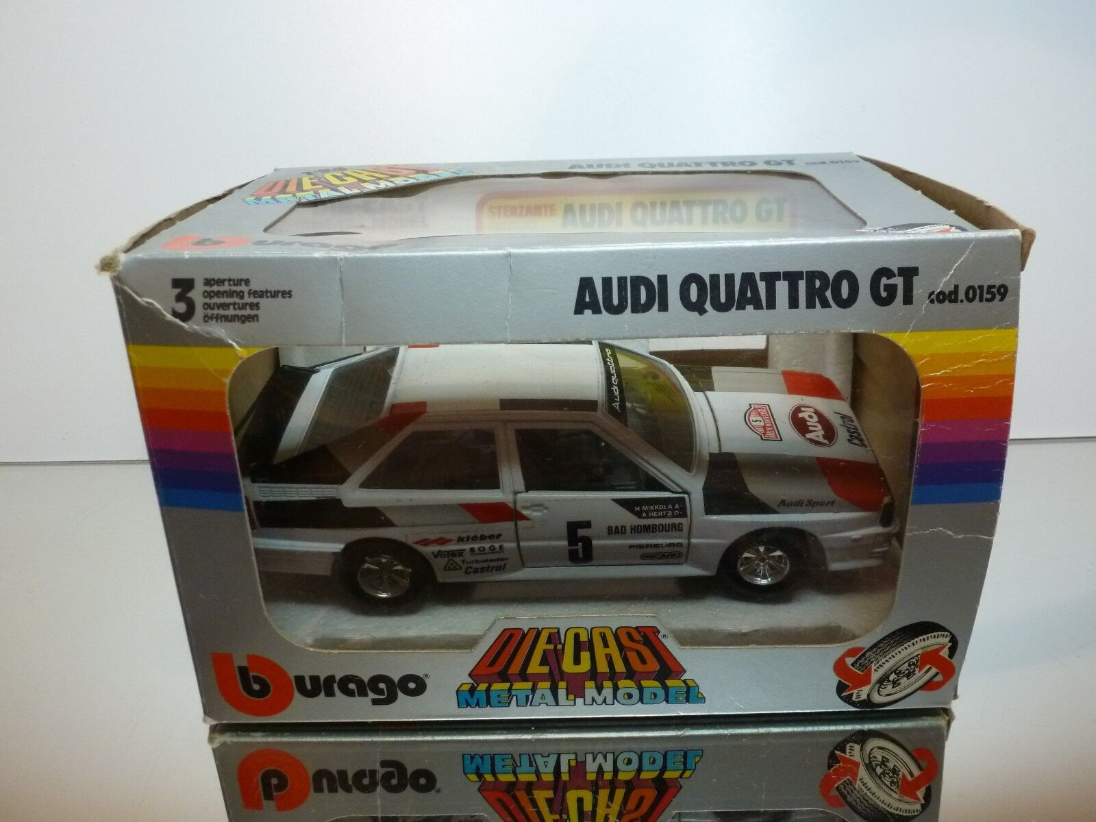 BBURAGO 0159 AUDI QUATTRO GT MIKKOLA HERTZ - WHITE 1 24 - VERY GOOD IN BOX