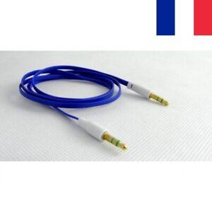 Câble Audio Mini Jack Male Male Hifi Stereo Plat  1 Mètre 2 Couleurs