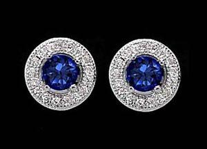 925-ECHT-SILBER-RHODINIERT-Ohrstecker-rund-8-mm-Zirkonia-safir-saphir-blau