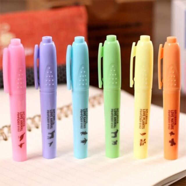 6pcs/Set Candy Color Fluorescent Line Highlighter Stationery Notes Marker Pen l