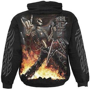 Spiral-Direct-Rock-Salute-Skeleton-Guitar-Metal-Horns-Black-Hoodie-Hooded-Top