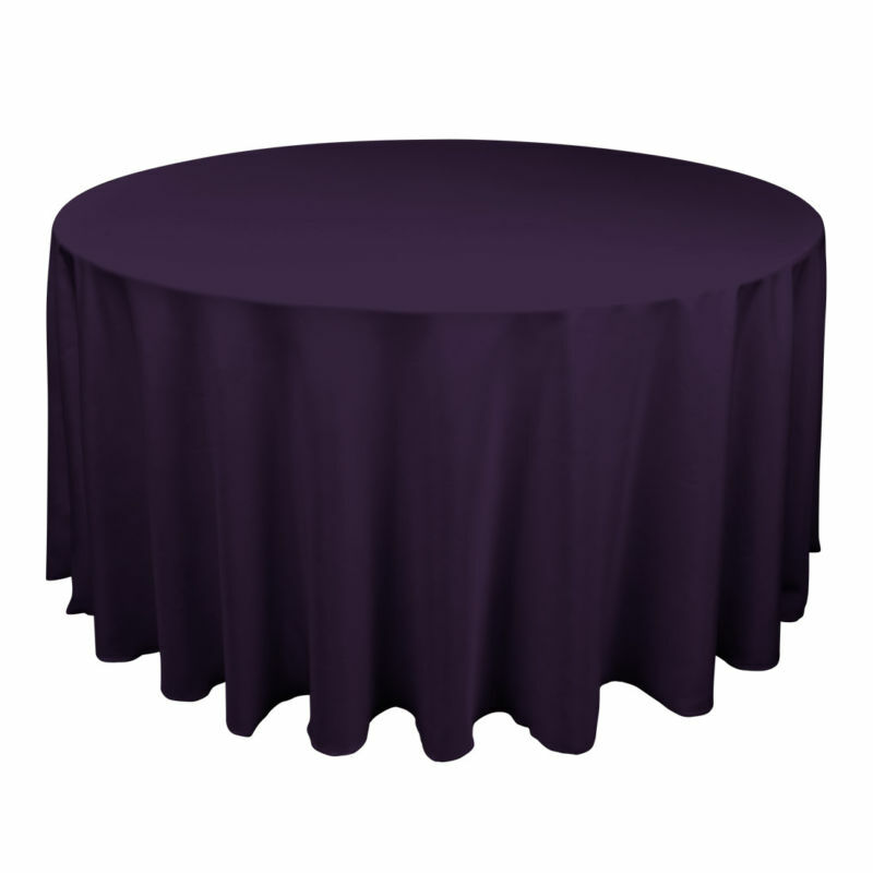 30 Aubergine 120  Round fine polyester nappes made in USA 60  Table Cover