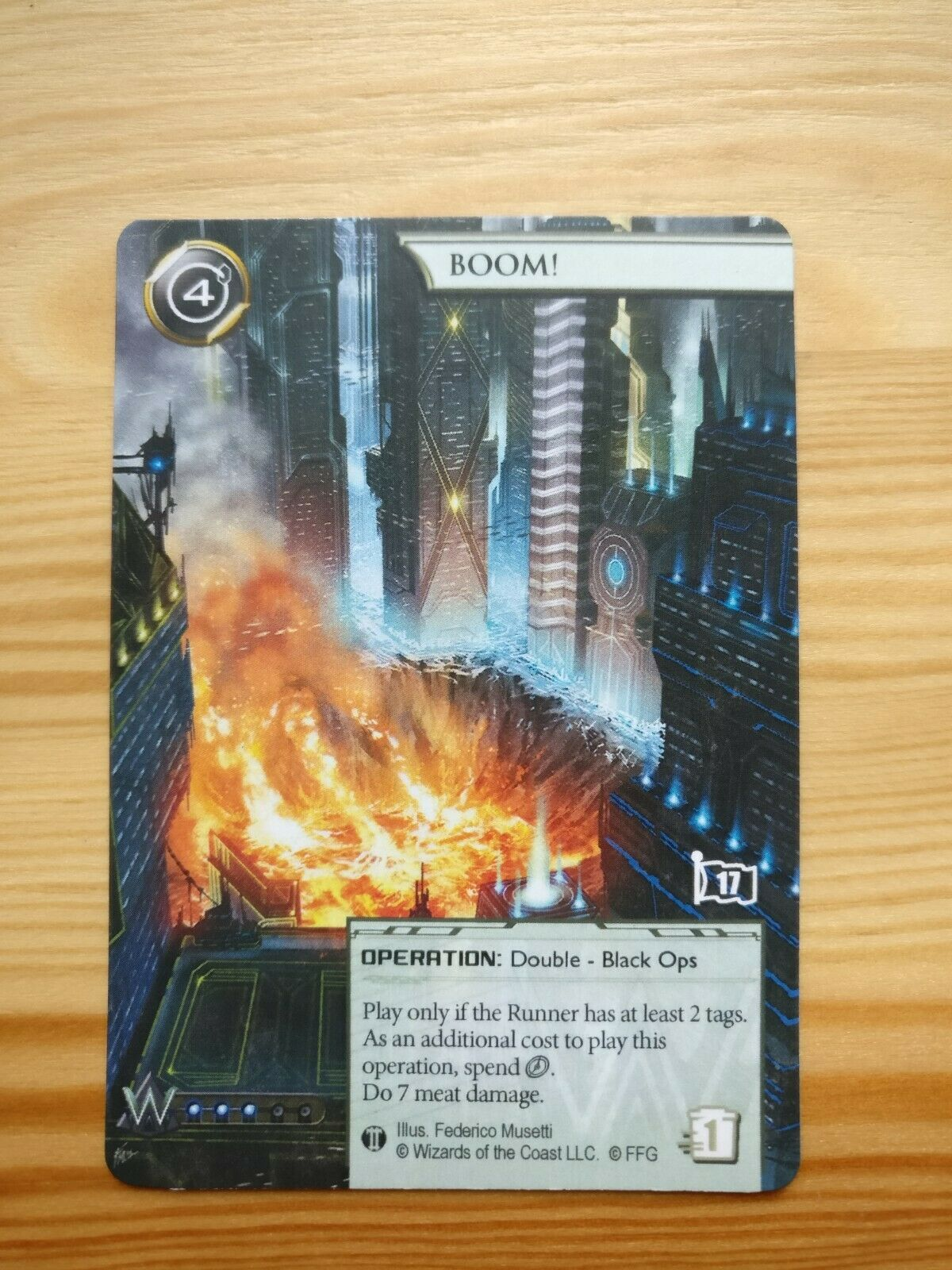 One Boom  Netrunner alternative Alt Art Card Card