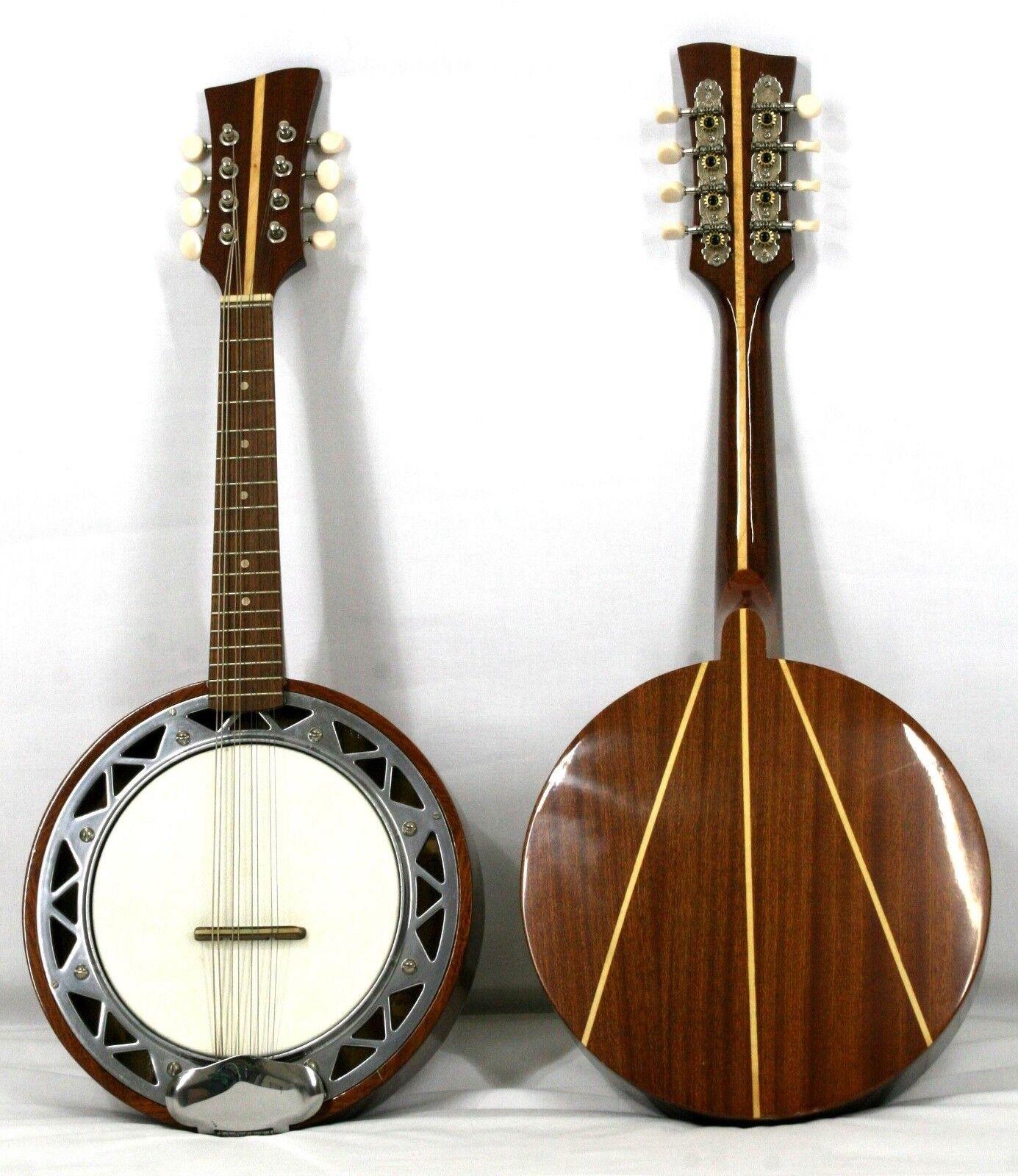 Musikalia Banjo Mandolino, con cassa in alluminio, fondo in mogano con intarsi
