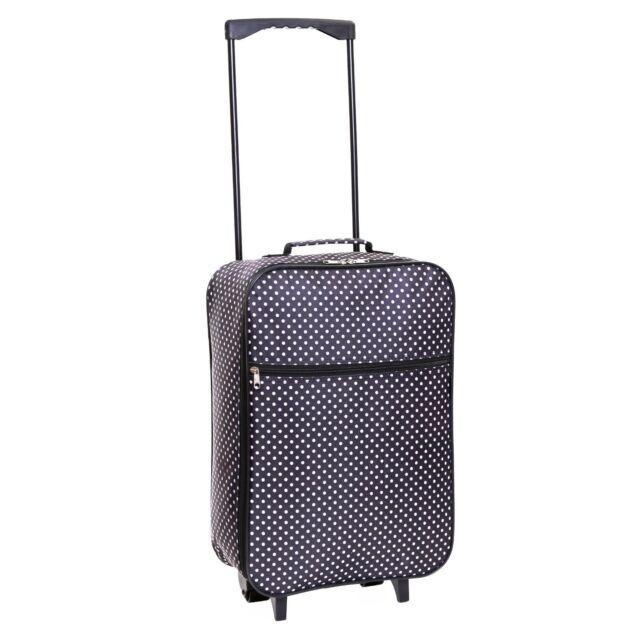 98b47b44e788 Trolley Bag Hand Luggage Black Dots Wheel Travel Cabin Flight Handle ...