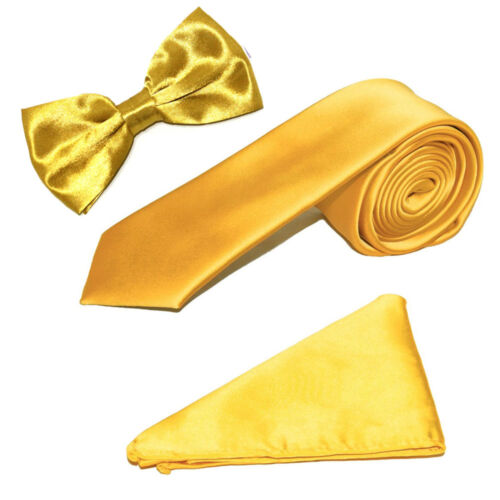 "Men/'s Luxury Satin Classic 3/"" Tie Bow Tie /& Pocket Handkerchief Set"