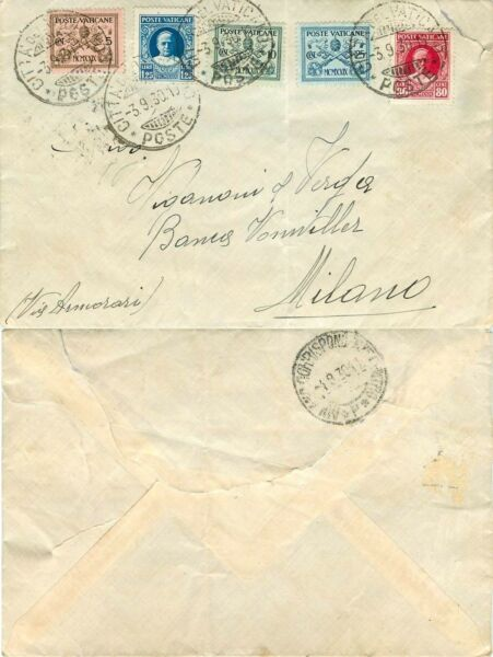 1618 - Vaticano - 5 Colori Su Busta Per Milano, 03/09/1930 Nombreux Dans La VariéTé