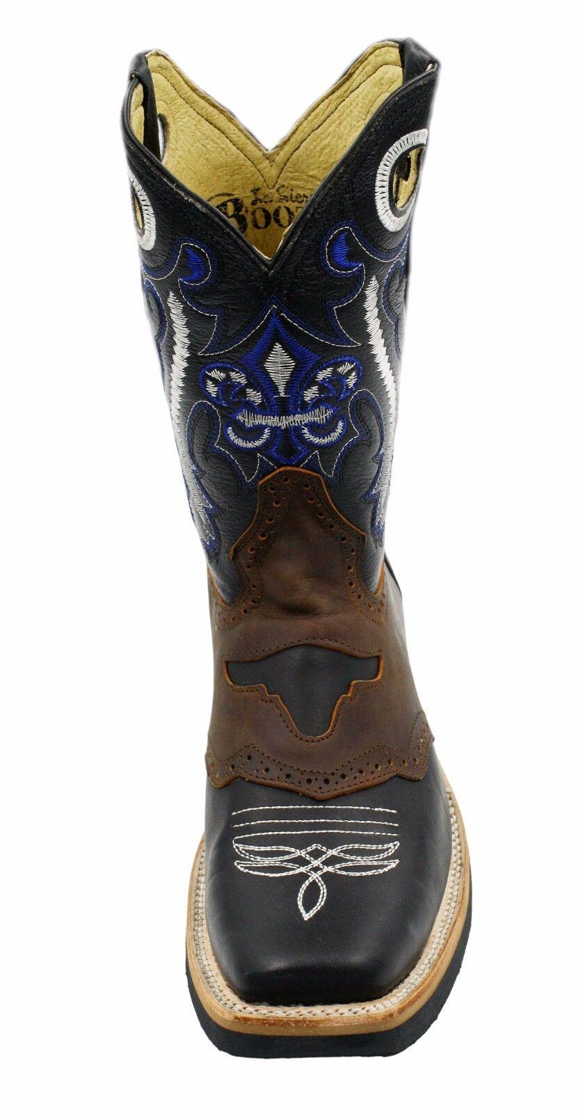 Para hombres Cuero Genuino Negro Botas De Occidental Vaquero Rodeo Occidental De Estilo CAR700 3873d9
