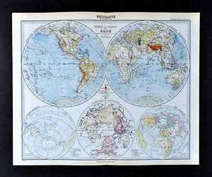 Map Of Upper Asia.1892 Stieler Map World Hemispheres Africa Europe Asia Australia