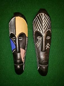 2-African-face-masks-Tribal-Art-wood-ritual-ceremonial-hand-carved-Zimbabwe