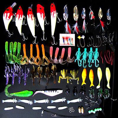 Lot 100 pcs Kinds of Fishing Lures Crankbaits Hooks Minnow Bass Baits Tackle+Box