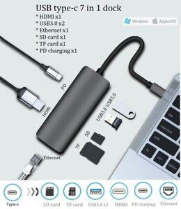 USB C USB-c Type-C HUB adapter dock  5 6 7-in-1 to HDMI RJ45 Macbook Windows PC
