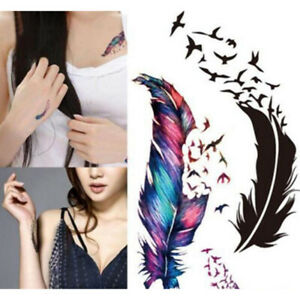 3e5c8484f9902 2PCS Unisex Feather Flower Temporary Fake Tattoo Body Painting Tatoo ...