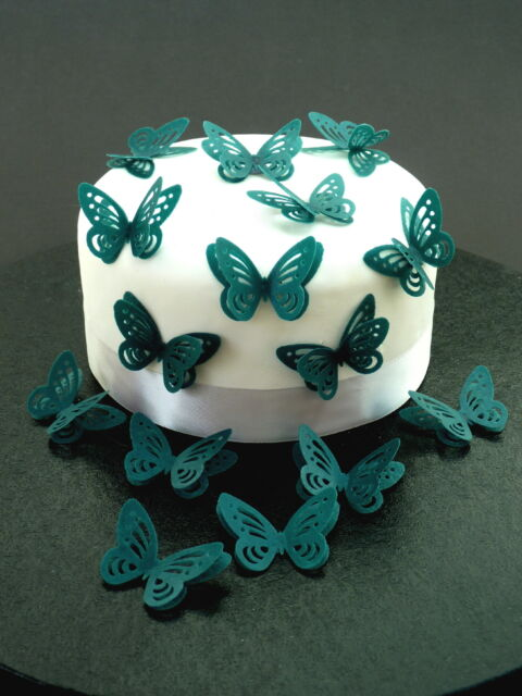 15 DOUBLE 3D TEAL BUTTERFLIES PRE-CUT EDIBLE RICE WAFER PAPER CAKE TOPPERS