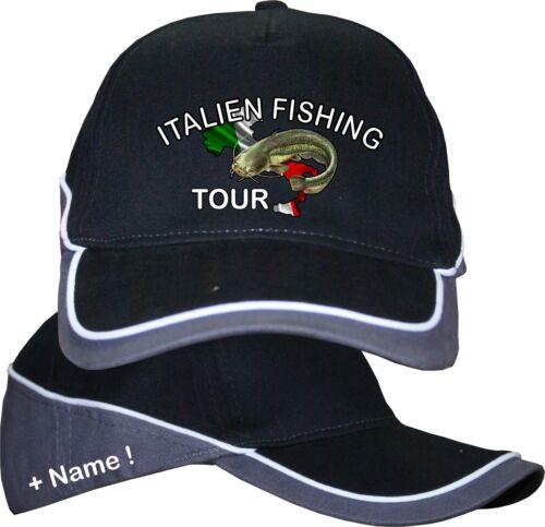 Italien Angeln Tour Urlaub Welsangeln Italia Kappe Basecap Hut Anglershirt 30
