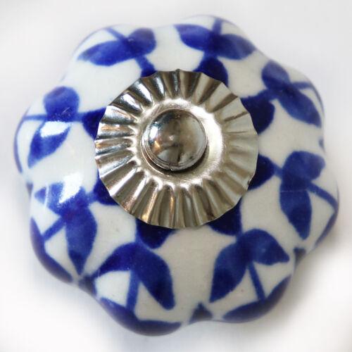 Meubles Bouton Meubles Poignée Meubles Boutons Céramique Mobilier Pommeaux style art déco bleu blanc 181