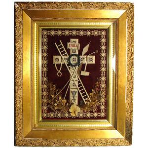 "Smart Rare Antique French 19.5"" Gilt Framed Punchwork Reliquary Decorative Arts Sealed Back W/ Script Other Antique Decorative Arts"