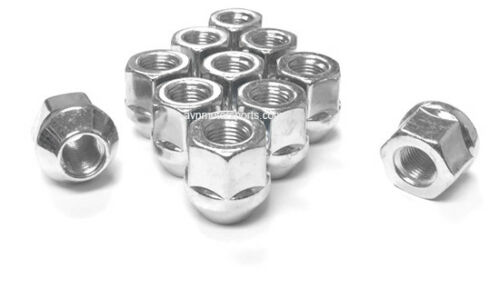 """10x OPEN END CHROME 14x1.5 ACORN LUG NUTS 1/"""" TALL 21MM HEX FORD CHEVY GM DODGE"""