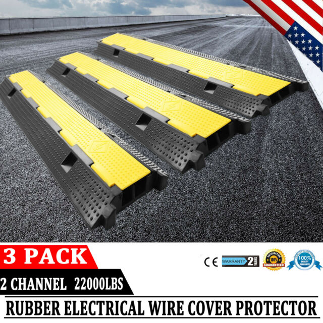 3PCS 2Channel Cable Protector Ramp Rubber Electrical Wire Cable Cover Ramp Guard