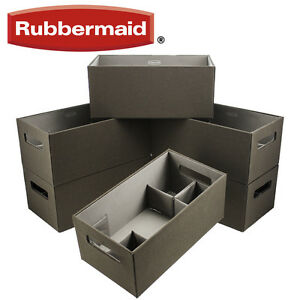 6 Rubbermaid Medium Brown Bento Storage Boxes Flex Dividers Espresso Organize