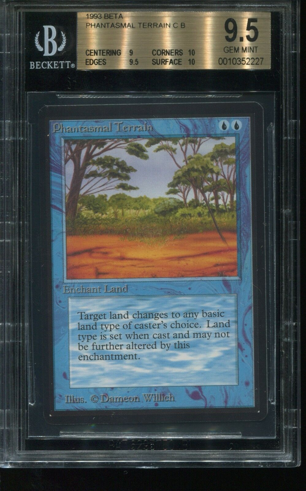 Phantasmal Terrain BGS BGS BGS Graded 9.5 w  2x 10 sub Beta MTG magic See Scans  f60104
