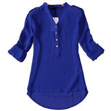 Summer Fashion Women's Loose Long Sleeve Chiffon Casual Blouse Shirt Tops Blouse