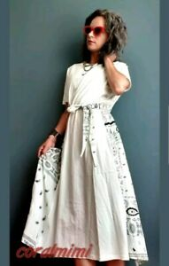 ZARA-NEW-white-printed-casual-midi-dress-with-belt-size-m