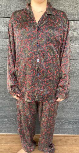 Lasorie 100% Silk Women's Red Paisley Silk 2 Pc Pa