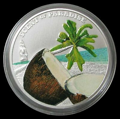 Forceful 2009 Silver Palau $5 Scent Of Paradise Colorized Coin