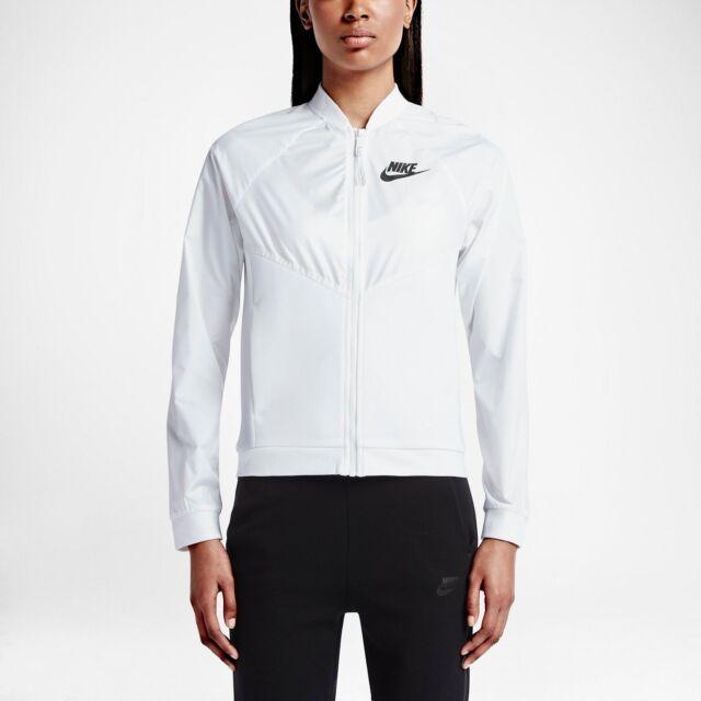 Nike Tech Hypermesh Bomber Women s Jacket M White Black Gym Casual ... a81288031