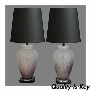 Details About Pair Vintage Mid Century Modern Frosted Purple Glass Lucite Table Lamps