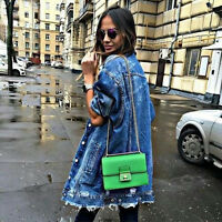 Bloggers WOMEN NEW! AW16 COLLECTION BLUE LONG DENIM JACKET Bomber Coat S M
