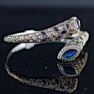 925-Sterling-Silver-Handmade-Authentic-Turkish-Sapphire-Bracelet-Bangle-Cuff