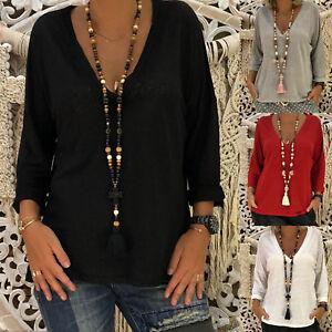 Plus-Size-Women-Long-Sleeve-V-Neck-Blouse-Casual-Summer-Plain-Cotton-Top-T-Shirt