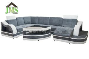 Details About New Corner Sofa Bed Kayman Mix With Led U Shaped Coffee Table